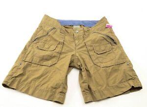 Athleta Womens Cargo Hiking Shorts Size 2 Green Zip Pockets Cotton Drawstring