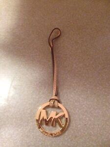 "New Michael Kors Signature Hang tag Fob Charm VACHETTA GOLD 2"" wide 7"" long"
