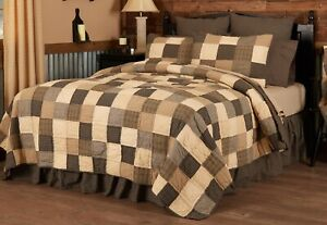 Country Patchwork Oversized King Quilt Hand Stitched Cream Black Kettle Grove