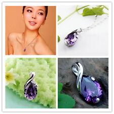 Chic Elegant Amethyst Gemstone Natural Crystal Heal Point Chakra Stone Pendant I