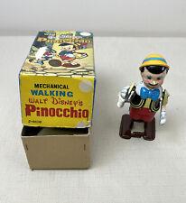 Vintage Linemar Toys Disney Tin Litho Wind-Up Walking Pinocchio Working Japan OB