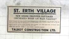 1974 St Erth Village New Stone Fronted Cottages £10,500 Talbot Construction