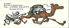 Vintage Ink Blotter Political Humor Carol Sillett Treasurer Camel Dragging Rider