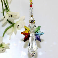 m/w Swarovski®, Thick Icicle Rainbow Triple Wings Chakra Strand Angel SunCatcher
