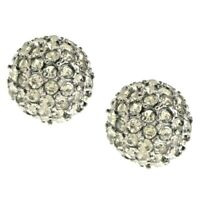 Joan Rivers Shimmering Pave' Gray Crystal Ball Pierced Earrings