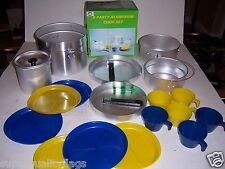 New 19 pc Camping Cooking Cookware set w/ 4 pots 2 pans 6 plates 6 cups au