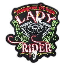 Lady Rider Biker Rose Patch  Embroidered MC Freedom Motorcycle Iron on Vest New