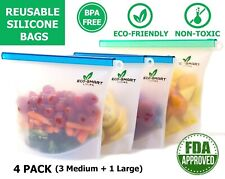 Reusable Silicone Food Storage Bags 4Pack LeakProof BPA Free Ecofriendly