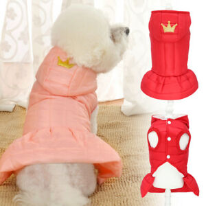 Cute Small Dog Dress Coat Warm Padded Puppy Cat Winter Clothes for Girl Pink Red