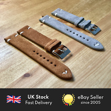 Vintage Suede Handmade Watch Strap - Real Leather Band 20mm Tan / Grey / Black