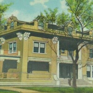 Vintage Early 1900's Postcard Kansas Topeka Club Building Front Architecture