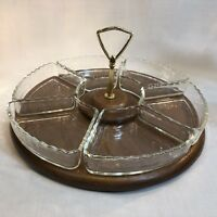 Vintage Lazy Susan with Handle 6 Glass Relish Serving Trays Faux Wood