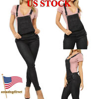 Women Black Straps Jumpsuit Jeans Hole Bib Pants Overalls Rompers Trousers US