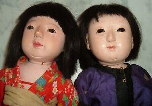 """Vintage Antique Japanese Ichimatsu Gofun 14"""" Dolls One Signed"""