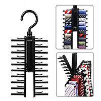 Adjustable 360° Rotating 20 Tie Rack Belt Scarf Neckties Hanger Storage Holder