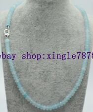 "New 2x4mm Light Blue Aquamarine Faceted Rondelle Gems Beads Necklace 20""AAA 999*"