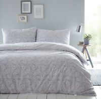 Sleepdown MELODY GREY Reversible Duvet Cover Set with Pillowcase