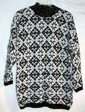 Vintage Christmas Sweater Retro Black White Snowflakes Lrg Ladies Shirt Top