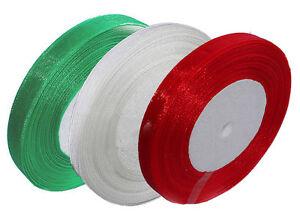 3 colour bundle Christmas Gift wrap ribbon - 10mm organza ribbon 25yds & 50yds