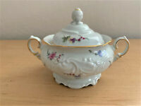 """WAWEL """"Sheraton Rose"""" Sugar Bowl & Lid Trimmed in Gold Made in Poland"""