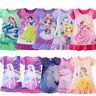 Princess Girls Kids Party Dress Pajamas Nightgown Sleepwear Nightwear Xmas Gift