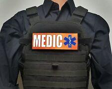 """3x8"""" MEDIC Orange EMT EMS Morale Patch for Plate Carrier Chest Rig Ambulance Bag"""