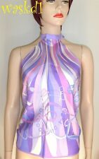 GUCCI lilac Stirrups Belts & Horsebits SADDLERY silk scarf HALTER top NWT Authen