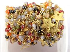 AAA 10 FEET MULTI CUBIC ZIRCONIA CZ STAR CHARMS ROSARY WIRE WRAPPED BEADED CHAIN