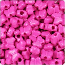 *3 FOR 2* 50 x Dark Pink Opaque 13mm Butterfly Shape Quality Pony Beads