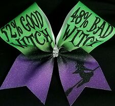 Cheer Bow - 52% good Witch 48% Bad Witch - Halloween  Glitter - Hair Bows