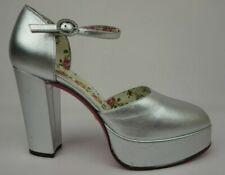 Gucci Agon Ankle Strap Platform Metallic Silver Pump Size 38