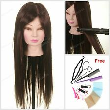 "24"" 50% Real Hair Training head hairdressing mannequin practice Braid Tool Gift"