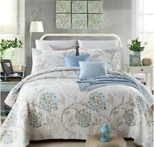 new cotton 3pcs bedspread Coverlet quilted queen king Floral Beige Blue Vintage