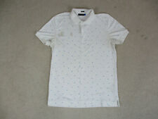 J Lindeberg Polo Shirt Adult Large White Blue Lightweight Golf Golfer Mens *