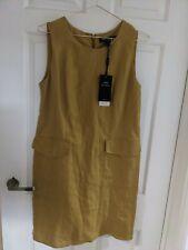 Next Tailoring Linen Dress Sz10 Work wear Mustard Bnwt