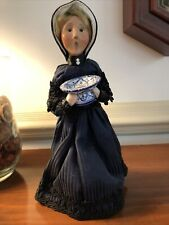 Byers' Choice 2000 Caroler Victorian Woman with Porcelain Blue & White Bowl