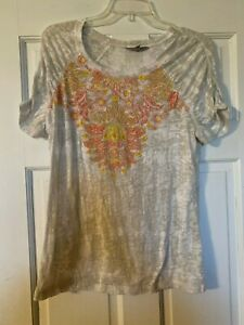 ATHLETA T-Shirt Size Large Ruched Sleeves Paisley Print Cotton Blend