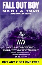 FALL OUT BOY 2018  Laminated Australian Tour Poster