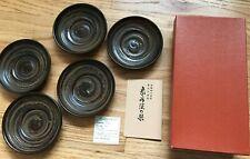 5pc Japanese Wooden Coaster Chataku Shikoku Zokoku Lacquer Ware NEW IN BOX
