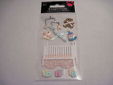 Scrapbooking Stickers Sandylion Baby Crib Mobile Bear Toy Rings Lace Blanket Bow
