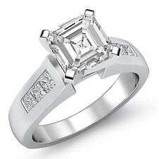 Asscher Cut Channel Set Diamond Engagement Ring GIA F VS2 14k White Gold 1.6 ct