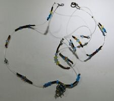 Collier 2 rangs fils nylon avec petites perles genre Murano tons bleus et penden