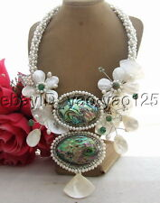 R031201 Charming! Pearl&Shell&Paua Abalone Shell&Crystal&Agate Necklace