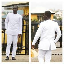 All White Long Sleeve Shirt and Trousers African Clothing Men's Wear