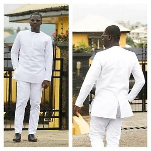All White Long Sleeve Shirt and Pants African Clothing Kaftan Men's Fashion Wear