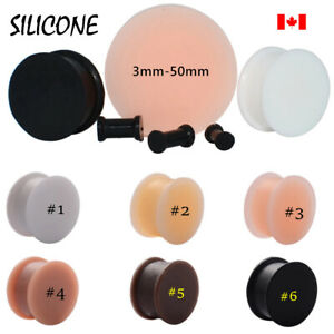 Pair comfortable silicone Ear Gauges  Ear plug Flesh Tunnel 3mm-50mm large size