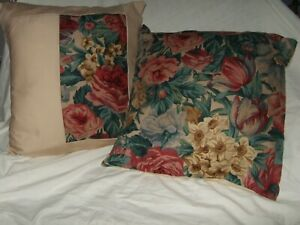 Two  New 16 inch by 16 inch 100 %  linen matching cushions, polyester inserts