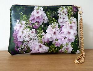 Clutch Bag Hand Floral Wrist Strap Faux Leather Chain Flat Handmade Travel
