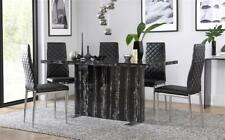 Magnus & Renzo Marble Dining Room Table and 4 6 Chairs Set - Black (Chrome Legs)