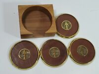Solid brass & Leather Business Coaster Advertising Set of 4 Wooden Vintage